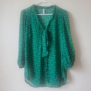 Xhilaration Green Horse Button Up Blouse